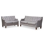 Baxton Studio Celine Modern and Contemporary Grey Fabric Upholstered Button-Tufted 2-Piece Living Room Set Baxton Studio restaurant furniture, hotel furniture, commercial furniture, wholesale living room furniture, wholesale sofa, classic sofa sets