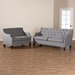 Baxton Studio Celine Modern and Contemporary Grey Fabric Upholstered Button-Tufted 2-Piece Living Room Set - Celine-Grey-2PC-Set