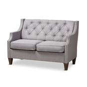 Baxton Studio Celine Modern and Contemporary Grey Fabric Upholstered Button-Tufted 2-Seater Loveseat Baxton Studio restaurant furniture, hotel furniture, commercial furniture, wholesale living room furniture, wholesale sofa, classic loveseats