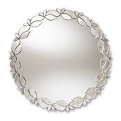 Baxton Studio Luiza Modern and Contemporary Silver Finished Round Petal Leaf Accent Wall Mirror Baxton Studio restaurant furniture, hotel furniture, commercial furniture, wholesale living room furniture, wholesale mirror, classic mirrors