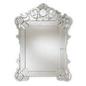 Baxton Studio Floriana Classic and Traditional Silver Finished Venetian Style Accent Wall Mirror Baxton Studio restaurant furniture, hotel furniture, commercial furniture, wholesale living room furniture, wholesale mirror, classic mirrors