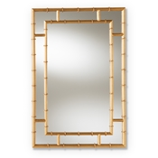 Baxton Studio Adra Modern and Contemporary Gold Finished Bamboo Accent Wall Mirror Baxton Studio restaurant furniture, hotel furniture, commercial furniture, wholesale living room furniture, wholesale mirror, classic mirrors