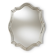 Baxton Studio Isidora Art Deco Antique Silver Finished Accent Wall Mirror Baxton Studio restaurant furniture, hotel furniture, commercial furniture, wholesale living room furniture, wholesale mirror, classic mirrors