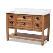 Baxton Studio Alamitos 48-Inch Farmhouse Country Weathered Oak Finished Wood and Marble Single Sink Bathroom Vanity Baxton Studio restaurant furniture, hotel furniture, commercial furniture, wholesale bathroom furniture, wholesale vanities, classic vanities