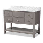 Baxton Studio Castie 48-Inch Modern and Contemporary Grey Finished Wood and Marble Single Sink Bathroom Vanity Baxton Studio restaurant furniture, hotel furniture, commercial furniture, wholesale bathroom furniture, wholesale vanities, classic vanities