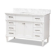 Baxton Studio Monte 48-Inch Transitional White finished Wood and Marble Single Sink Bathroom Vanity - MONTE-48-White