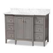 Baxton Studio Murray 48-Inch Transitional Grey Finished Wood and Marble Sink  Bathroom Vanity Baxton Studio restaurant furniture, hotel furniture, commercial furniture, wholesale bathroom furniture, wholesale vanities, classic vanities