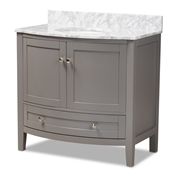 Baxton Studio Nicole 36-Inch Transitional Grey Finished Wood and Marble Single Sink Bathroom Vanity Baxton Studio restaurant furniture, hotel furniture, commercial furniture, wholesale bathroom furniture, wholesale vanities, classic vanities