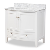 Baxton Studio Nicole 36-Inch Transitional White Finished Wood and Marble Single Sink Bathroom Vanity Baxton Studio restaurant furniture, hotel furniture, commercial furniture, wholesale bathroom furniture, wholesale vanities, classic vanities