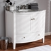 Baxton Studio Nicole 36-Inch Transitional White Finished Wood and Marble Single Sink Bathroom Vanity - NICOLE-36-White