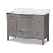 Baxton Studio Nicole 48-Inch Transitional Grey Finished Wood and Marble Single Sink Bathroom Vanity Baxton Studio restaurant furniture, hotel furniture, commercial furniture, wholesale bathroom furniture, wholesale vanities, classic vanities