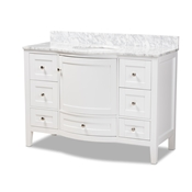 Baxton Studio Nicole 48-Inch Transitional White Finished Wood and Marble Single Sink Bathroom Vanity Baxton Studio restaurant furniture, hotel furniture, commercial furniture, wholesale bathroom furniture, wholesale vanities, classic vanities