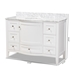 Baxton Studio Nicole 48-Inch Transitional White Finished Wood and Marble Single Sink Bathroom Vanity - NICOLE-48-White