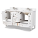 Baxton Studio Nicole 60-Inch Transitional White Finished Wood and Marble Double Sink Bathroom Vanity - NICOLE-60-White