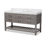 Baxton Studio Yolanda 60-Inch Modern and Contemporary Grey Finished Wood and Marble Double Sink Bathroom Vanity Baxton Studio restaurant furniture, hotel furniture, commercial furniture, wholesale bathroom furniture, wholesale vanities, classic vanities