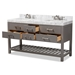 Baxton Studio Yolanda 60-Inch Modern and Contemporary Grey Finished Wood and Marble Double Sink Bathroom Vanity - YOLANDA-60-Slate Grey
