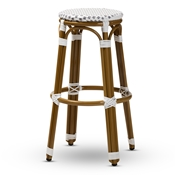 Baxton Studio Joelle Classic French Indoor and Outdoor Grey and White Bamboo Style Stackable Bistro Bar Stool Baxton Studio restaurant furniture, hotel furniture, commercial furniture, wholesale bar furniture, wholesale stools, classic bar stools