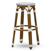 Baxton Studio Joelle Classic French Indoor and Outdoor Navy and White Bamboo Style Stackable Bistro Bar Stool Baxton Studio restaurant furniture, hotel furniture, commercial furniture, wholesale bar furniture, wholesale stools, classic bar stools