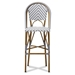 Baxton Studio Ilene Classic French Indoor and Outdoor Grey and White Bamboo Style Stackable Bistro Bar Stool - WA-4307V-Grey/White-BS