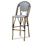 Baxton Studio Ilene Classic French Indoor and Outdoor White and Blue Bamboo Style Stackable Bistro Bar Stool Baxton Studio restaurant furniture, hotel furniture, commercial furniture, wholesale bar furniture, wholesale stools, classic bar stools