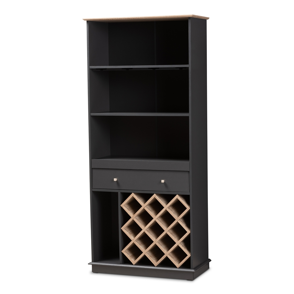 Baxton Studio Mattia Modern And Contemporary Dark Grey Oak Finished Wood Wine Cabinet Sewc16006wi