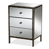Baxton Studio Nouria Modern and Contemporary Hollywood Regency Glamour Style Mirrored Three Drawer Nightstand Bedside Table Baxton Studio restaurant furniture, hotel furniture, commercial furniture, wholesale bedroom furniture, wholesale nightstand, classic nightstands
