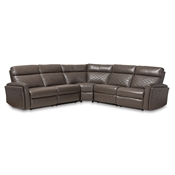 Baxton Studio Alvar Modern and Contemporary Grey Faux Leather Upholstered 3-Piece Power Recliner Sectional Sofa with 2 Reclining Seats and USB Ports Baxton Studio restaurant furniture, hotel furniture, commercial furniture, wholesale living room furniture, wholesale sofa, classic sectional sofas