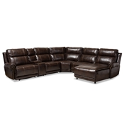 Baxton Studio Dacio Modern and Contemporary Brown Faux Leather Upholstered 6-Piece Sectional Recliner Sofa with 2 Reclining Seats Baxton Studio restaurant furniture, hotel furniture, commercial furniture, wholesale living room furniture, wholesale sofa, classic sectional sofas