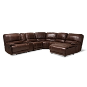 Baxton Studio Salomo Modern and Contemporary Brown Faux Leather Upholstered 6-Piece Sectional Recliner Sofa with 3 Reclining Seats Baxton Studio restaurant furniture, hotel furniture, commercial furniture, wholesale living room furniture, wholesale sofa, classic sectional sofas