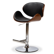 Baxton Studio Ambrosio Modern and Contemporary Black Faux Leather Upholstered Chrome-Finished Metal Adjustable Swivel Bar Stool Baxton Studio restaurant furniture, hotel furniture, commercial furniture, wholesale bar furniture, wholesale stools, classic bar stools