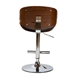 Baxton Studio Ambrosio Modern and Contemporary Black Faux Leather Upholstered Chrome-Finished Metal Adjustable Swivel Bar Stool - T-4044-Walnut/Black-BS