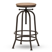 Baxton Studio Aline Vintage Rustic Industrial Style Wood and Rust-Finished Steel Adjustable Swivel Bar Stool Baxton Studio restaurant furniture, hotel furniture, commercial furniture, wholesale bar furniture, wholesale stools, classic bar stools