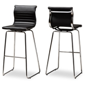 Baxton Studio Giorgio Modern and Contemporary Black Faux Leather Upholstered Chrome-Finished Steel Counter Stools Set of 2 Baxton Studio restaurant furniture, hotel furniture, commercial furniture, wholesale bar furniture, wholesale stools, classic bar stools