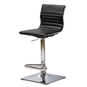Baxton Studio Vanni Modern and Contemporary Black Faux Leather Upholstered Chrome-Finished Metal Adjustable Swivel Bar Stool Baxton Studio restaurant furniture, hotel furniture, commercial furniture, wholesale bar furniture, wholesale stools, classic bar stools