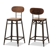 Baxton Studio Varek Vintage Rustic Industrial Style Bamboo and Rust-Finished Steel Stackable Counter Stool Set of 2 Baxton Studio restaurant furniture, hotel furniture, commercial furniture, wholesale bar furniture, wholesale stools, classic bar stools