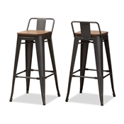 Baxton Studio Henri Vintage Rustic Industrial Style Tolix-Inspired Bamboo and Gun Metal-Finished Steel Stackable Bar Stool with Backrest Set of 2 Baxton Studio restaurant furniture, hotel furniture, commercial furniture, wholesale bar furniture, wholesale stools, classic bar stools