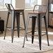 Baxton Studio Henri Vintage Rustic Industrial Style Tolix-Inspired Bamboo and Gun Metal-Finished Steel Stackable Bar Stool with Backrest Set of 2 - T-5824-Gun-BS
