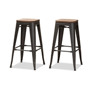 Baxton Studio Henri Vintage Rustic Industrial Style Tolix-Inspired Bamboo and Gun Metal-Finished Steel Stackable Bar Stool Set of 2 Baxton Studio restaurant furniture, hotel furniture, commercial furniture, wholesale bar furniture, wholesale stools, classic bar stools