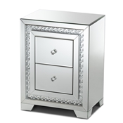 Baxton Studio Mina Modern and Contemporary Hollywood Regency Glamour Style Mirrored Two Drawer Nightstand Bedside Table Baxton Studio restaurant furniture, hotel furniture, commercial furniture, wholesale bedroom furniture, wholesale nightstand, classic nightstands