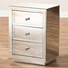 Baxton Studio Lina Modern and Contemporary Hollywood Regency Glamour Style Mirrored Three Drawer Nightstand Bedside Table - RXF-1787