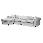 Baxton Studio Luisa Traditional Grey Fabric Upholstered Chesterfield Reversible Sectional Sofa Baxton Studio restaurant furniture, hotel furniture, commercial furniture, wholesale dining room furniture, wholesale Sectional Sofas, classic Sectional Sofas