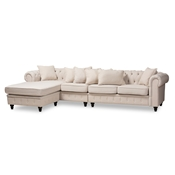 Baxton Studio Luisa Traditional Beige Fabric Upholstered Chesterfield Reversible Sectional Sofa Baxton Studio restaurant furniture, hotel furniture, commercial furniture, wholesale dining room furniture, wholesale Sectional Sofas, classic Sectional Sofas