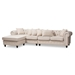Baxton Studio Luisa Traditional Beige Fabric Upholstered Chesterfield Reversible Sectional Sofa - R88027-Beige-LFC-SF