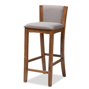 Baxton Studio Tiago Modern and Contemporary Grey Fabric Upholstered Wood Bar Stool (Set of 2) Baxton Studio restaurant furniture, hotel furniture, commercial furniture, wholesale living room furniture, wholesale barstool, classic barstool