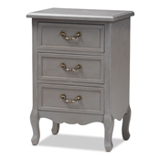 Baxton Studio Capucine Antique French Country Cottage Grey Finished Wood 3-Drawer Nightstand Baxton Studio restaurant furniture, hotel furniture, commercial furniture, wholesale living room furniture, wholesale night stand, classic night stand