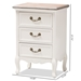 Baxton Studio Capucine Antique French Country Cottage Two Tone Natural Whitewashed Oak and White Finished Wood 3-Drawer Nightstand - JY17B092-White-NS