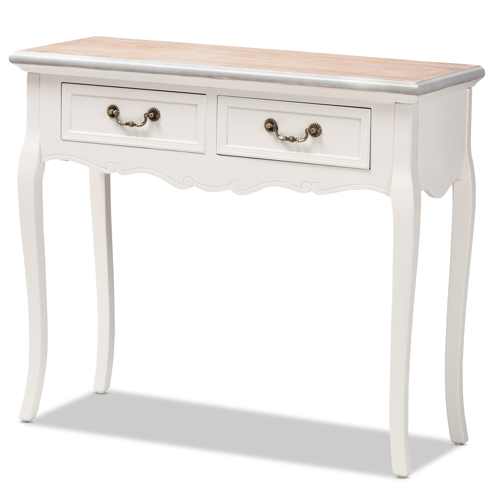 Baxton Studio Capucine Antique French Country Cottage Two Tone Natural Whitewashed Oak And White Finished Wood