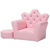 Baxton Studio Ava Modern and Contemporary Pink Faux Leather 2-Piece Kids Armchair and Footrest Set Baxton Studio restaurant furniture, hotel furniture, commercial furniture, wholesale living room furniture, wholesale kids chairs, classic kids chairs