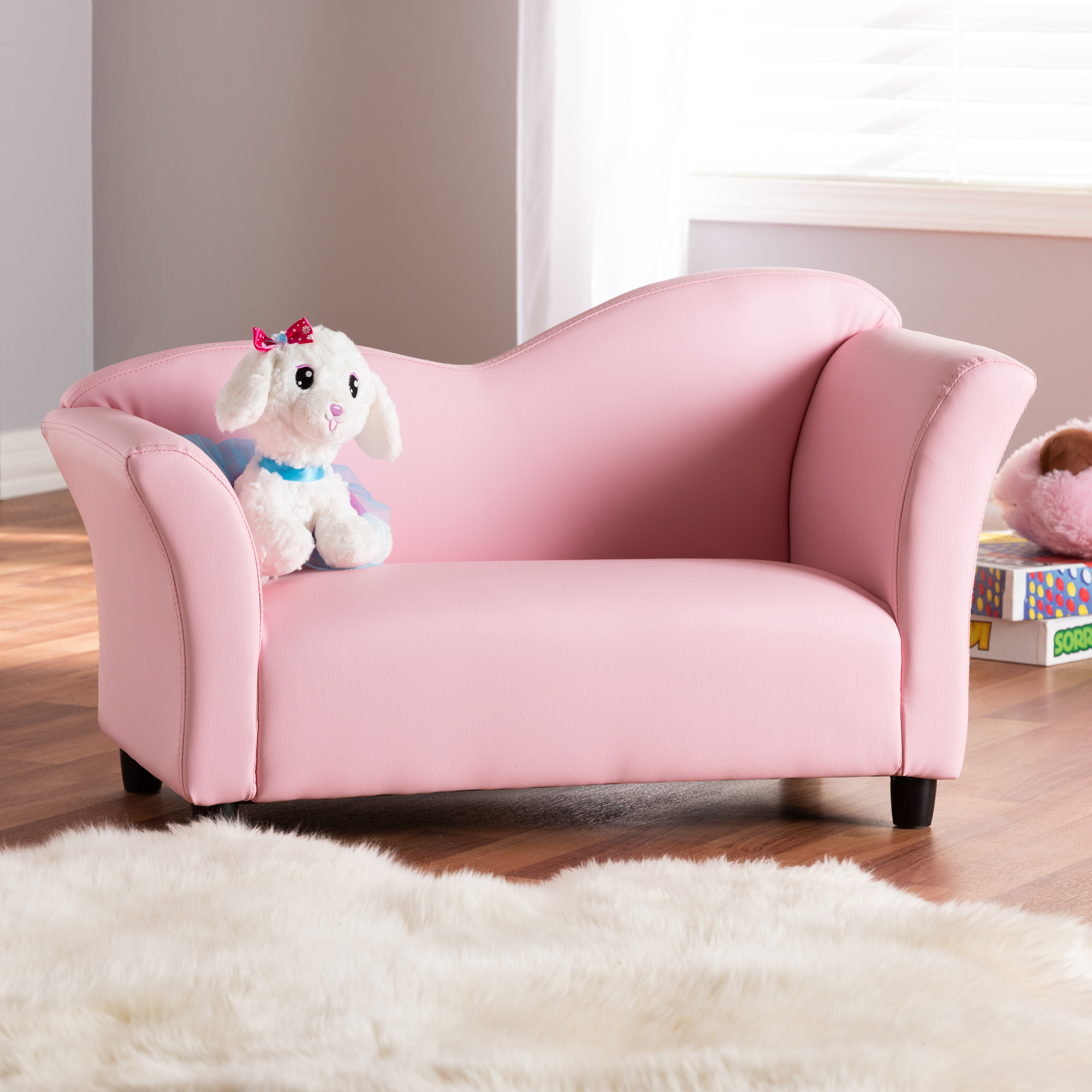 Baxton Studio Erica Pink and White Upholstered Kids 2-Seater Sofa