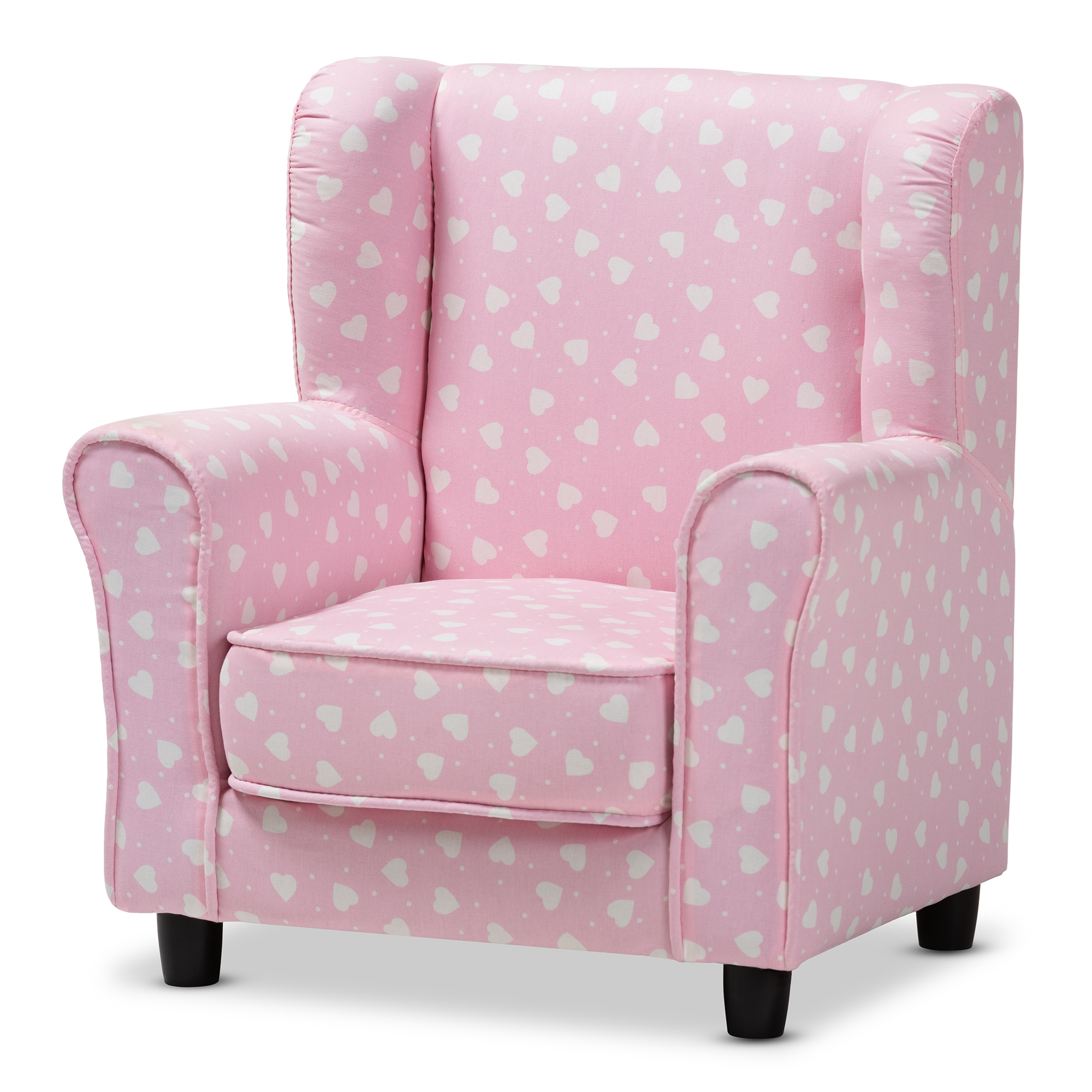 Baxton Studio Selina Modern And Contemporary Pink And White Heart Patterned  Fabric Upholstered Kids Armchair ...